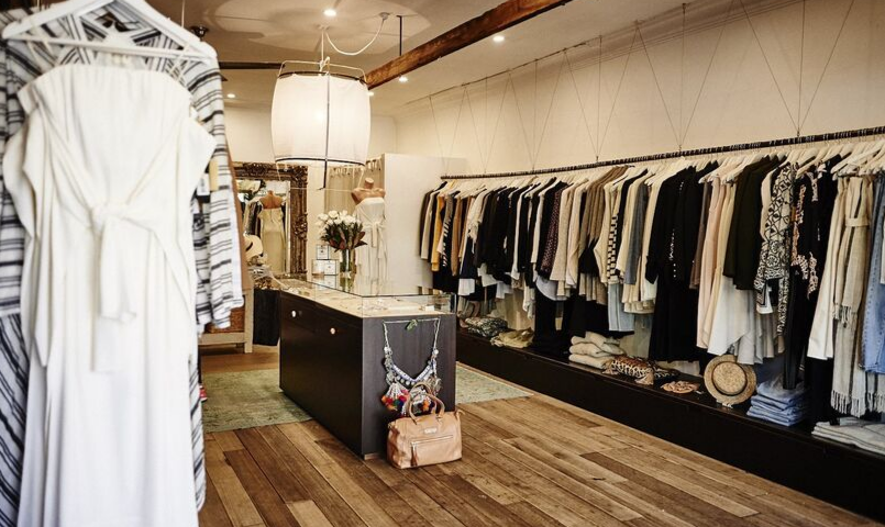 Interior shot of women's clothing and accessories at Splice Boutique, Newport