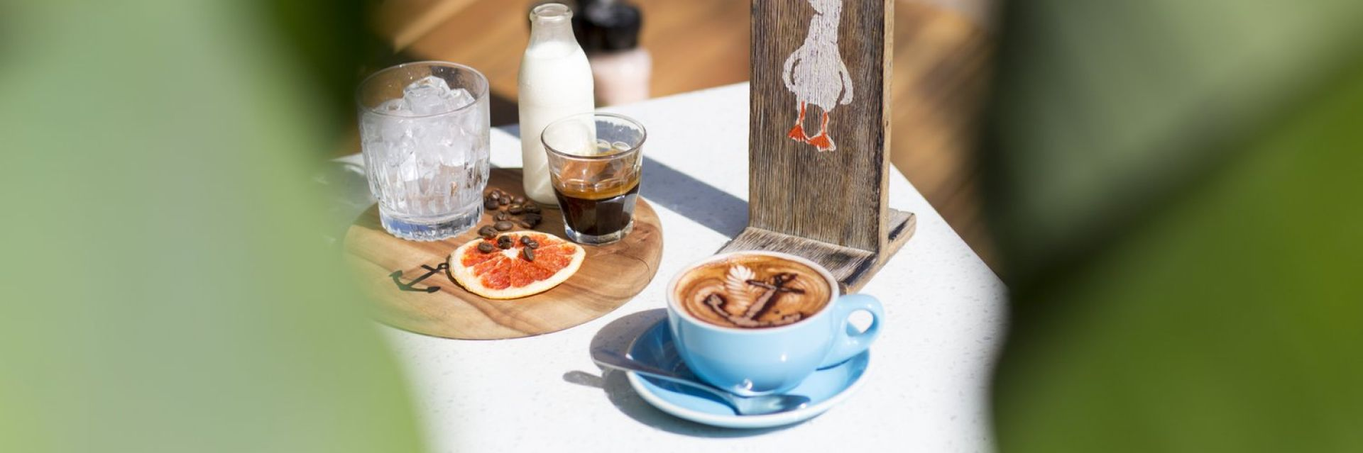 Coffee on a table at The Boathouse, Shelly Beach Manly
