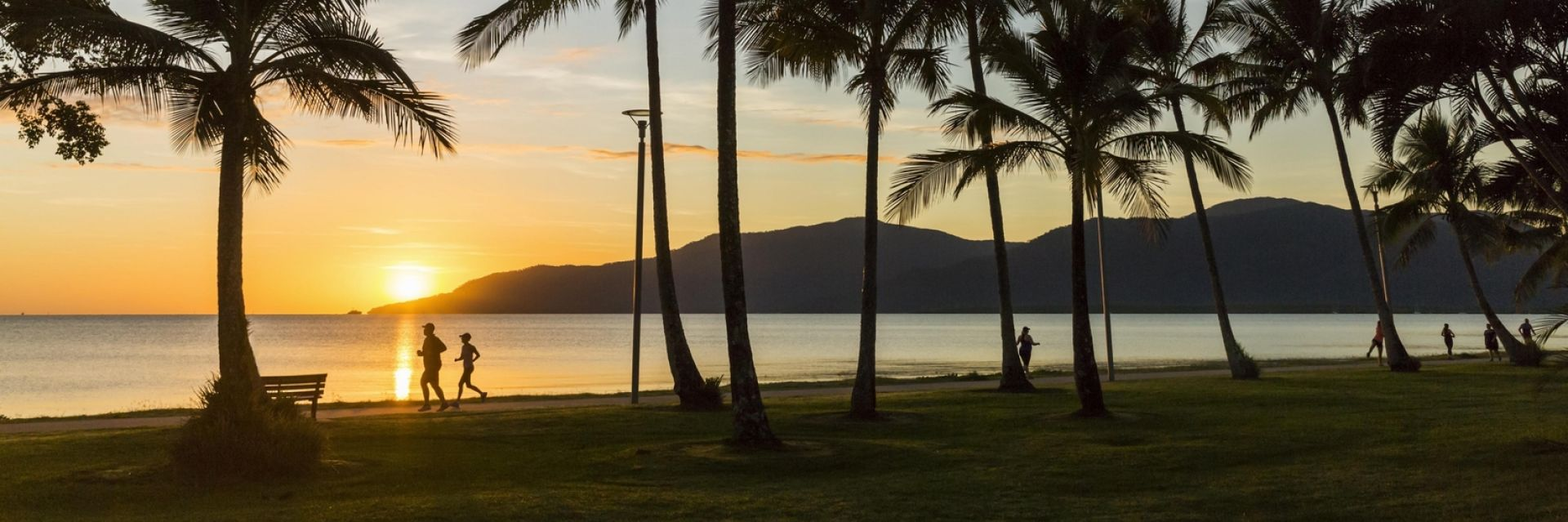 Couple running along Cairns Esplanade between the palm trees at sunset